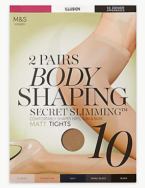 2 Pair Pack 10 Denier Secret Slimming™ Matt Body Shaper Tights, ILLUSION, catlanding