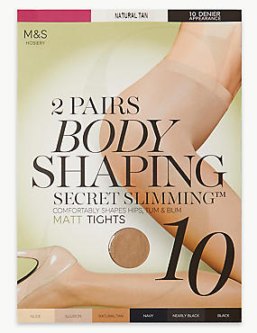 2 Pair Pack 10 Denier Secret Slimming™ Matt Body Shaper Tights, NATURAL TAN, catlanding