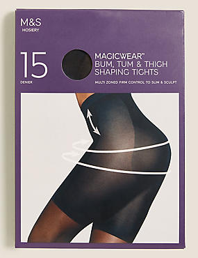 15 Denier Secret Slimming™ Shine Body Shaper Tights, BLACK, catlanding