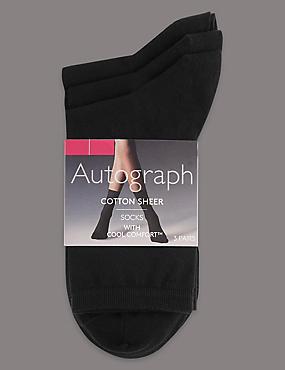 3 Pair Pack Ankle High Socks, BLACK, catlanding