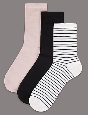 3 Pair Pack Cotton Sheer Ankle High Socks