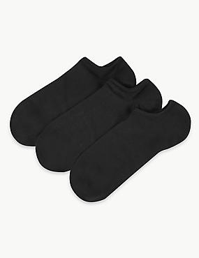 3 Pair Pack No Show Trainer Liner Socks, BLACK, catlanding