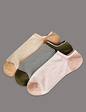 3 Pair Pack Ultra No Show Cotton Sheer Trainer Liner Socks
