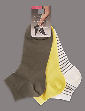 3 Pair Pack Cotton Rich Ankle Socks