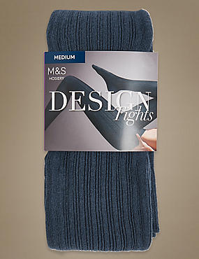 100 Denier Ribbed Tights