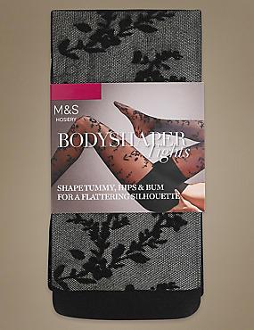Secret Slimming™ Floral Bodyshaper Tights, BLACK, catlanding