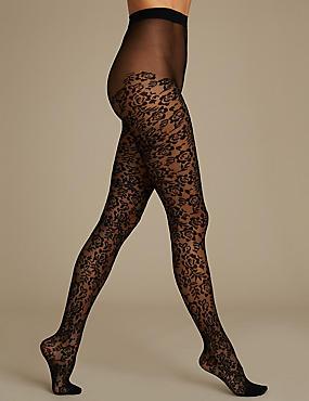 Lace Tights, BLACK, catlanding