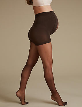 Maternity 7 Denier Bare Cooling Sheer Tights, COCOA, catlanding