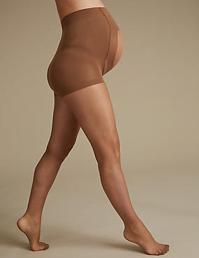 Maternity 7 Denier Bare Cooling Sheer Tights, SUNTAN, catlanding