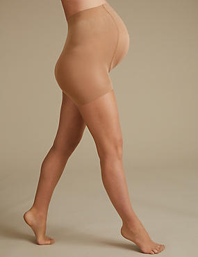 Maternity 7 Denier Bare Cooling Sheer Tights, NATURAL TAN, catlanding