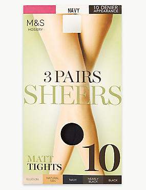 3 Pair Pack 10 Denier Matt Tights