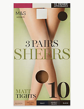 3 Pair Pack 10 Denier Sheer Matt Tights