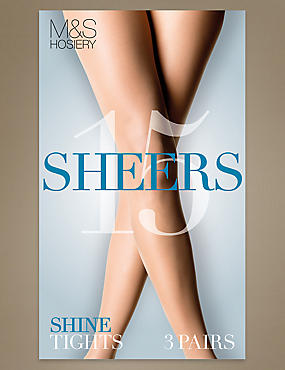 3 Pair Pack 15 Denier Sheer Shine Tights