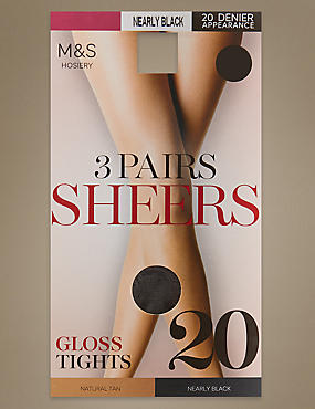 3 Pair Pack 20 Denier Tights