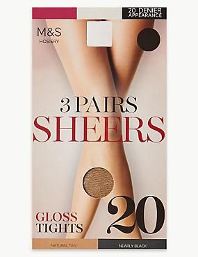 3 Pair Pack 20 Denier Sheer Gloss Tights