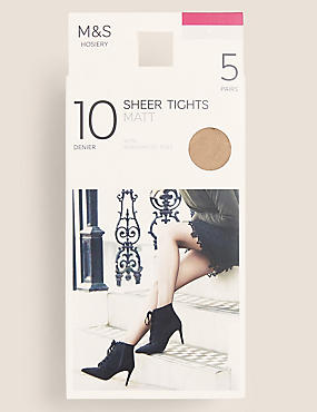 5 Pair Pack 10 Denier Tights, ILLUSION, catlanding