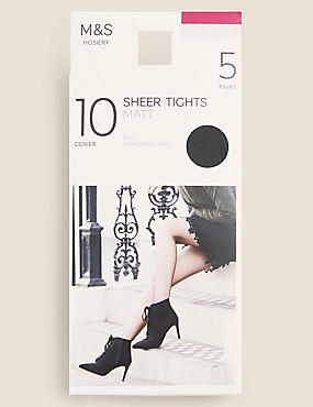 5 Pair Pack 10 Denier Tights, NEARLY BLACK, catlanding