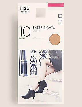 5 Pair Pack 10 Denier Tights, NATURAL TAN, catlanding