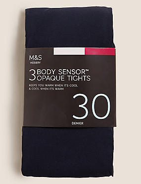 3 Pair Pack 30 Denier Body Sensor™ Tights, NAVY, catlanding