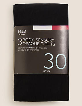 3 Pair Pack 30 Denier Body Sensor™ Tights, BLACK, catlanding