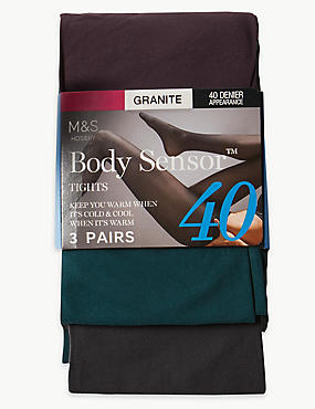 3 Pair Pack 40 Denier Body Sensor™ Tights, GRANITE, catlanding
