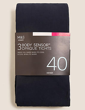 3 Pair Pack 40 Denier Body Sensor™ Tights, NAVY, catlanding