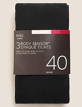 3 Pair Pack 40 Denier Body Sensor™ Tights, BLACK, catlanding