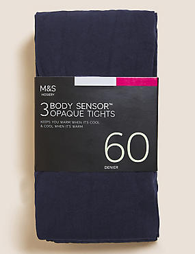 3 Pair Pack 60 Denier Body Sensor™ Tights, NAVY, catlanding