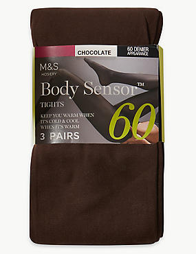 3 Pair Pack 60 Denier Body Sensor™ Tights, CHOCOLATE, catlanding