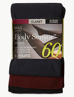 3 Pair Pack 60 Denier Body Sensor™ Tights, CLARET, catlanding