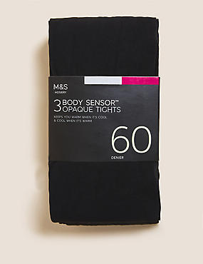 3 Pair Pack 60 Denier Body Sensor™ Tights, BLACK, catlanding