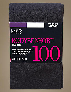 2 Pair Pack 100 Denier Body Sensor™ Opaque Tights