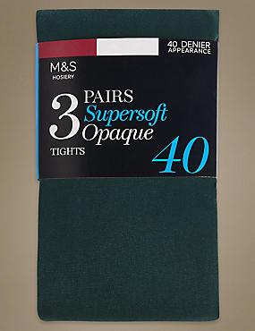3 Pair Pack 40 Denier Tights, GREEN, catlanding