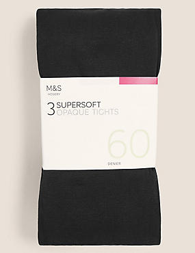 3 Pair Pack 60 Denier Supersoft Opaque Tights
