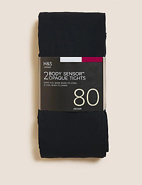 2 Pair Pack 80 Denier Body Sensor™ Opaque Tights