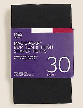 30 Denier Secret Slimming™ Opaque Tights  , BLACK, catlanding