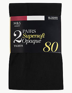 2 Pair Pack 80 Denier Supersoft Tights