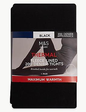 200 Denier Thermal Tights, BLACK, catlanding
