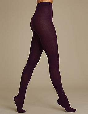 Ribbed Heavy Weight Opaque Tights, BERRY, catlanding