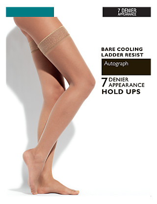 7 Denier Ladder Resist Bare Cooling Hold-Ups 1 Pair Pack Clothing