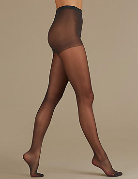 2 Pair Pack 10 Denier Tights, NEARLY BLACK, catlanding