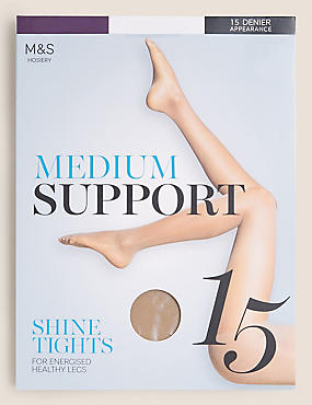 15 Denier Medium Support Shine Tights , ILLUSION, catlanding