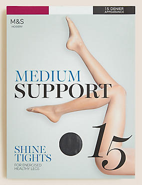 15 Denier Medium Support Shine Tights , NEARLY BLACK, catlanding