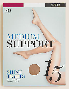15 Denier Medium Support Shine Tights , NATURAL TAN, catlanding