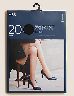 20 Denier Firm Support Tights, BLACK, catlanding