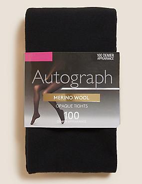 100 Denier Merino Wool Blend Opaque Tights , BLACK, catlanding