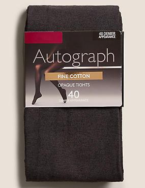 40 Denier Fine Cotton Tights , CHARCOAL, catlanding