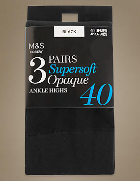 3 Pair Pack Opaque Ankle High Socks
