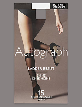 3 Pair Pack 15 Denier Ladder Resist Shine Knee Highs with Silver Technology