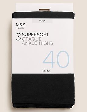 3 Pair Pack 40 Denier Opaque Ankle Highs Super Soft, BLACK, catlanding